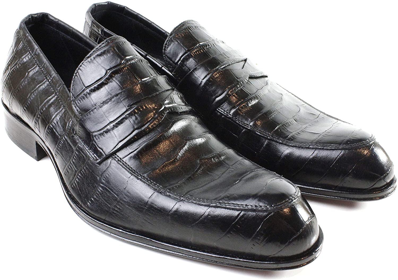 Ivan Troy Boua Embossed Crocodile Loafer Men's Dress Shoes/Leather Loafer/Italian Men's Shoes/Men's Leather Dress Shoes/Italian Loafer Shoes/