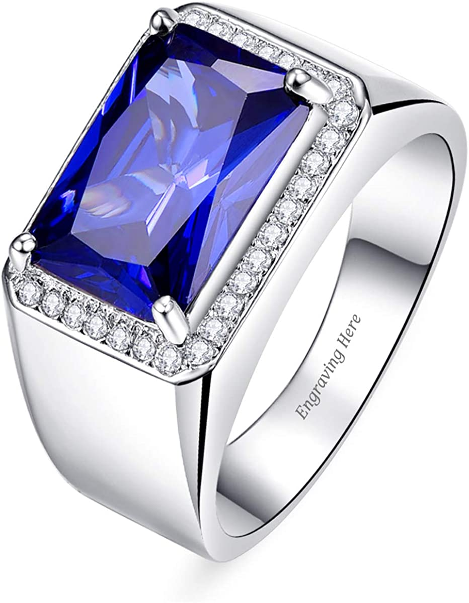 BONLAVIE Personalized Customized Name Rings Engraved Text Halo Set White CZ Created Blue Sapphire Black Spinel 925 Sterling Silver Band Size 5-14