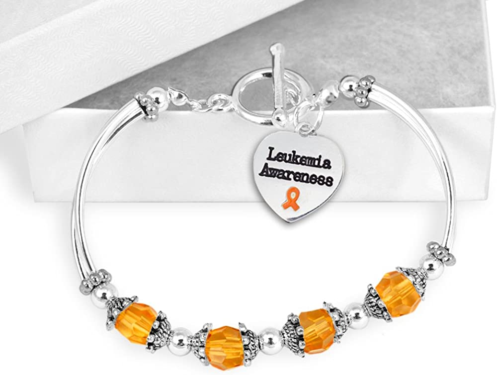 Leukemia Awareness Partial Beaded Bracelet in a Gift Box