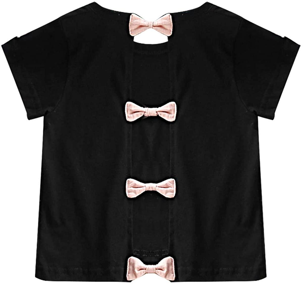 iiniim Trendy Kids Girls Round Neck Bowknots Cotton Short Sleeve T-Shirt Tops for Summer Party Casual Sundress