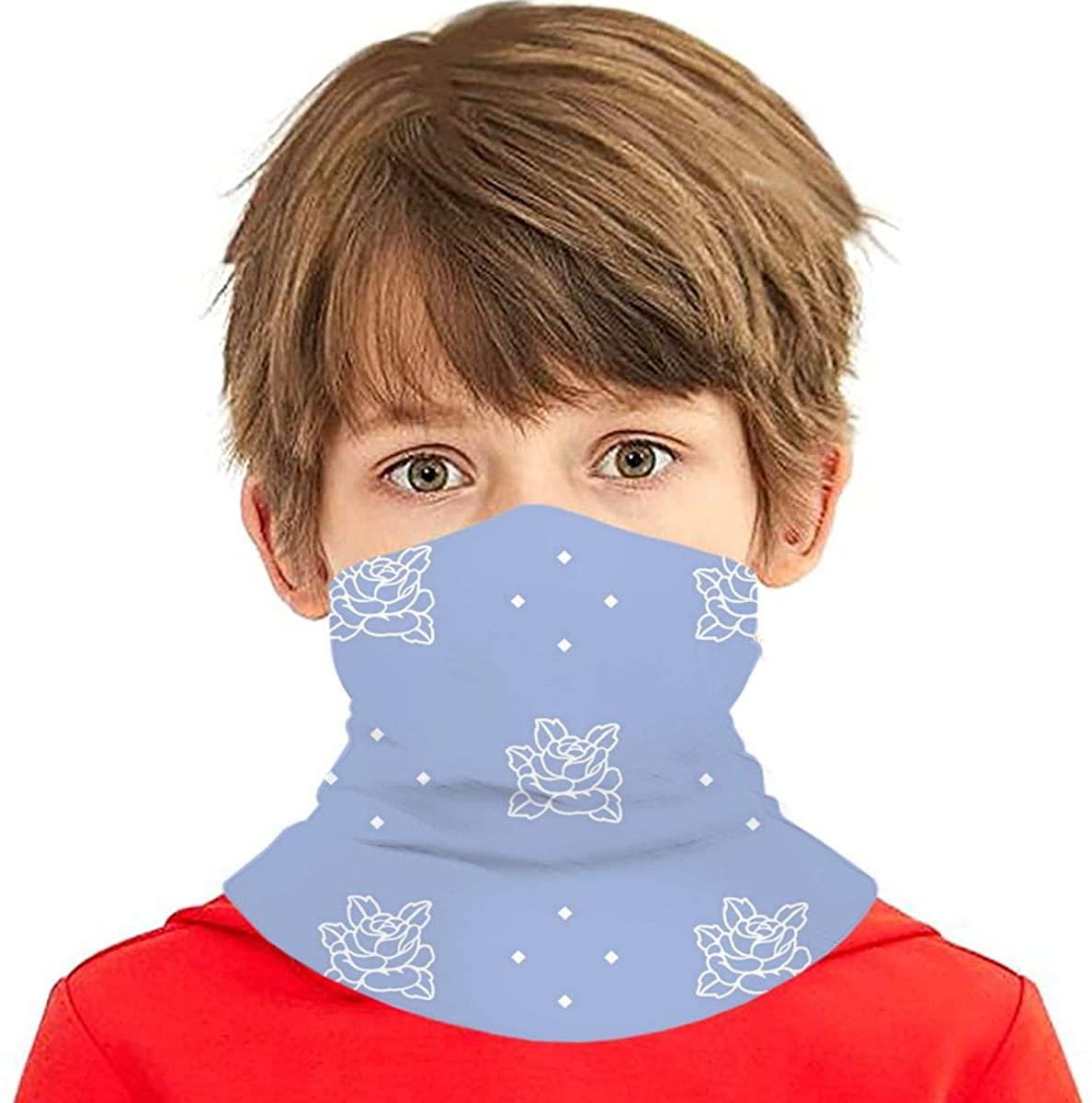Youth Face Bandanas, Blue Flowers Reusable Face Mask Half Face Towel Mouth Cloth Facial Scarf Variety Headscarf