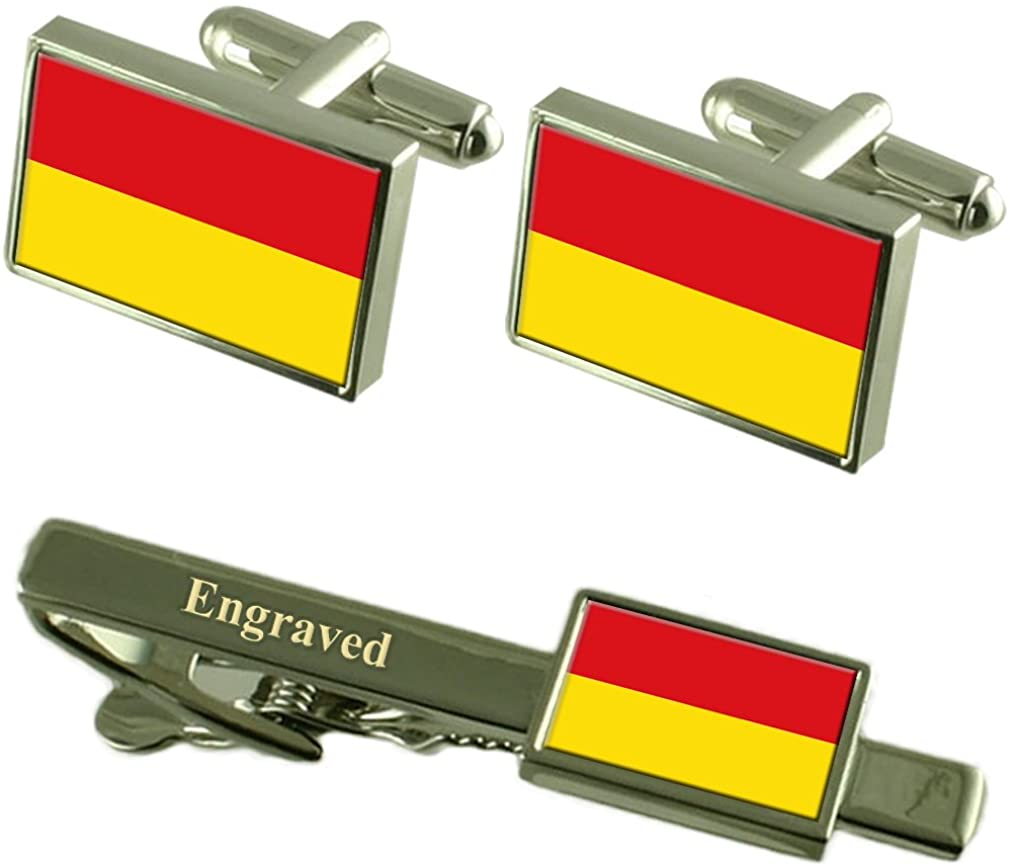 Select Gifts Paderborn City Germany Flag Cufflinks Engraved Tie Clip Set