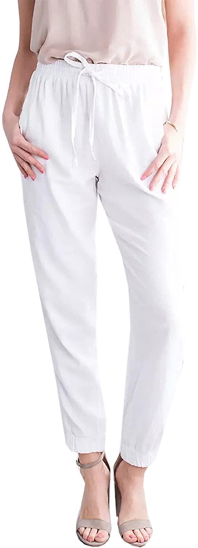 Liyuandian Womens Linen Plain Belted High Waisted Paper Bag Waist Drawstring Pants with Pockets