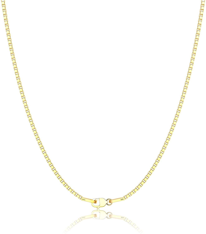 ASHINE 0.8mm Italian Box Chain Necklace 925 Sterling Silver 16