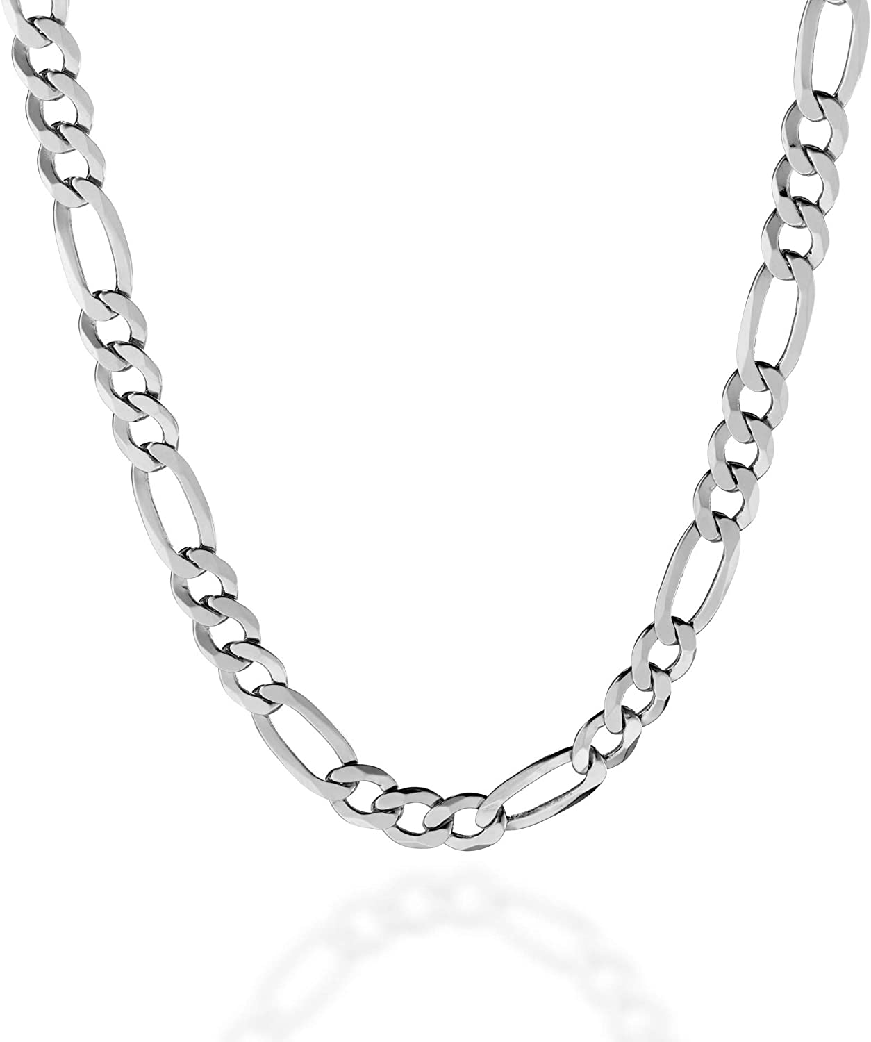 Quadri -925 Sterling Silver 7mm Figaro Link Chain Necklace 18-30 Inch Made in Italy