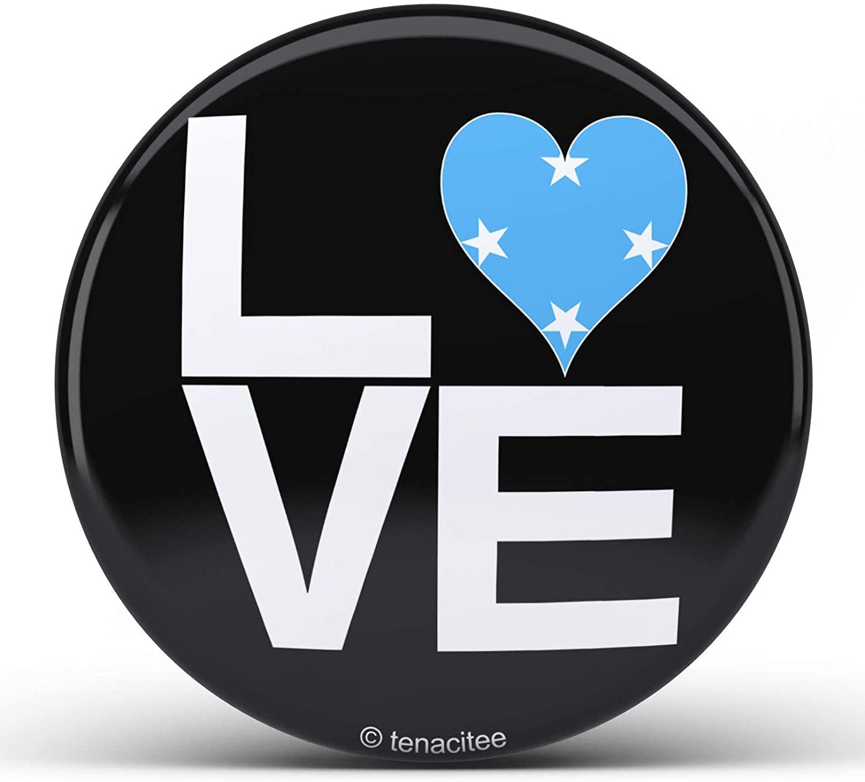 Tenacitee Love Block Micronesia Heart Pinback Button