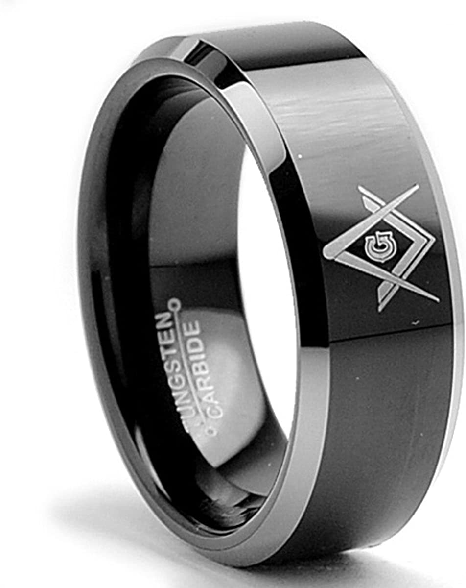 Bonndorf Tungsten Carbide Men's Two Tone Black Freemason Masonic Ring Band 8MM Sizes 6 to 15