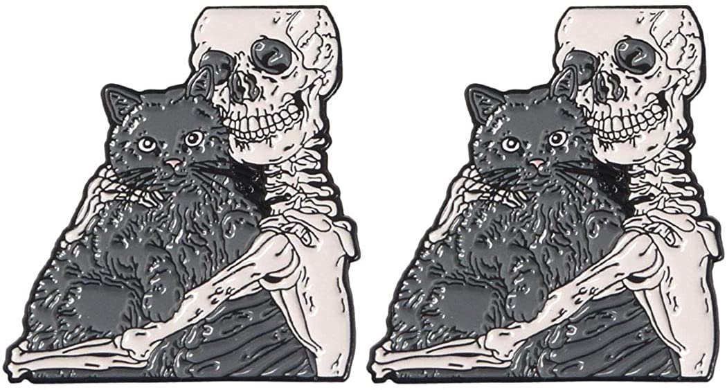 AnaPin Skeleton Hugging Black Cat Brooch Pin 2 Pcs Set Enamel Pins Lapel Badges