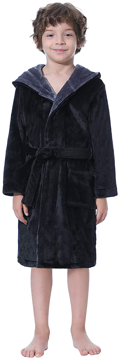 Aibrou Kids Robe Shawl Collar Microfiber Robes Cozy Velour Hooded Fleece Robe Boys Girl Terry Robes