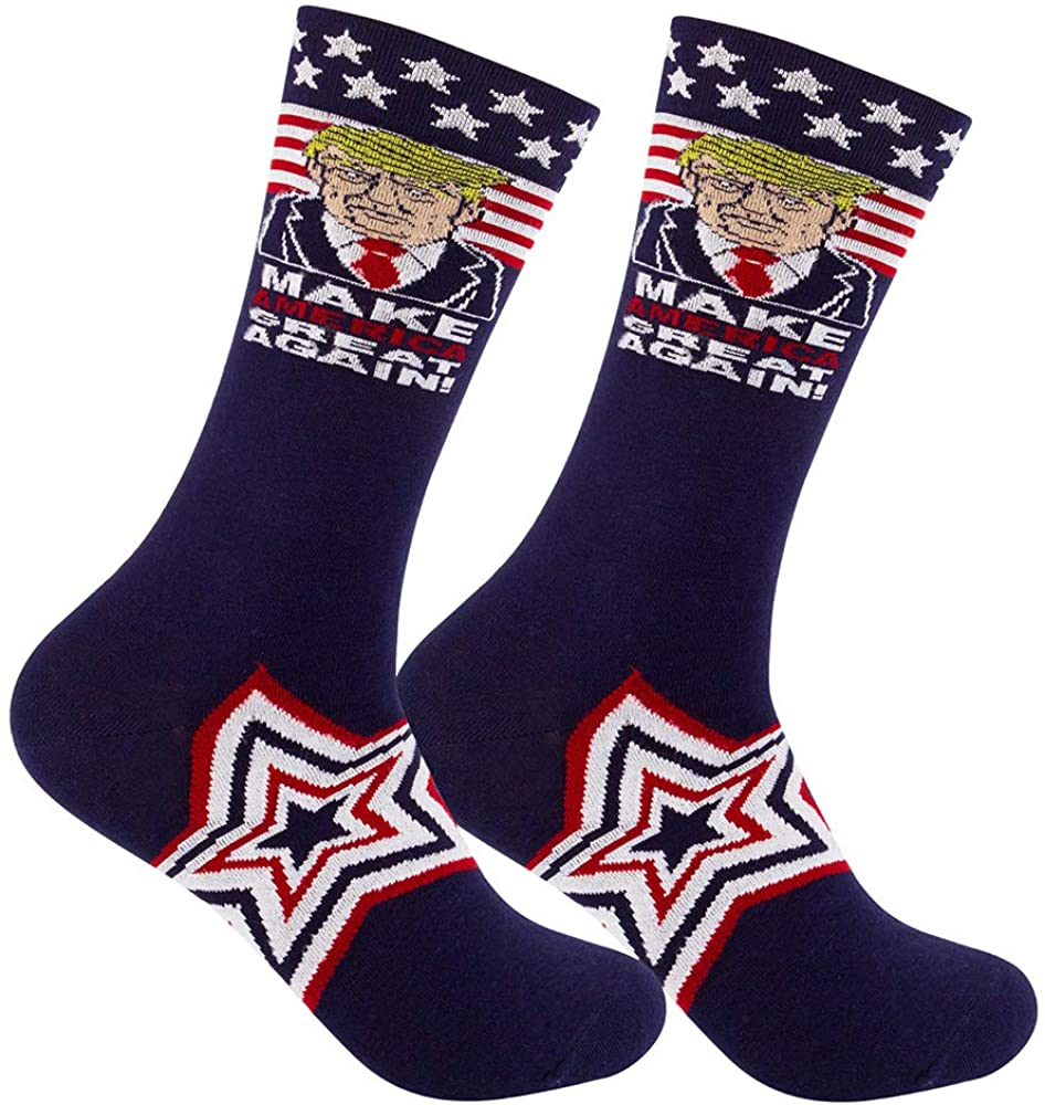 Funatic Donald Trump Crew Socks | Make America Great Again Unisex Republican Voter Clothing | Original 2020 GOP American Patriot Novelty Gift Apparel for Men and Women | Crazy Funny KAG Vote Accessory