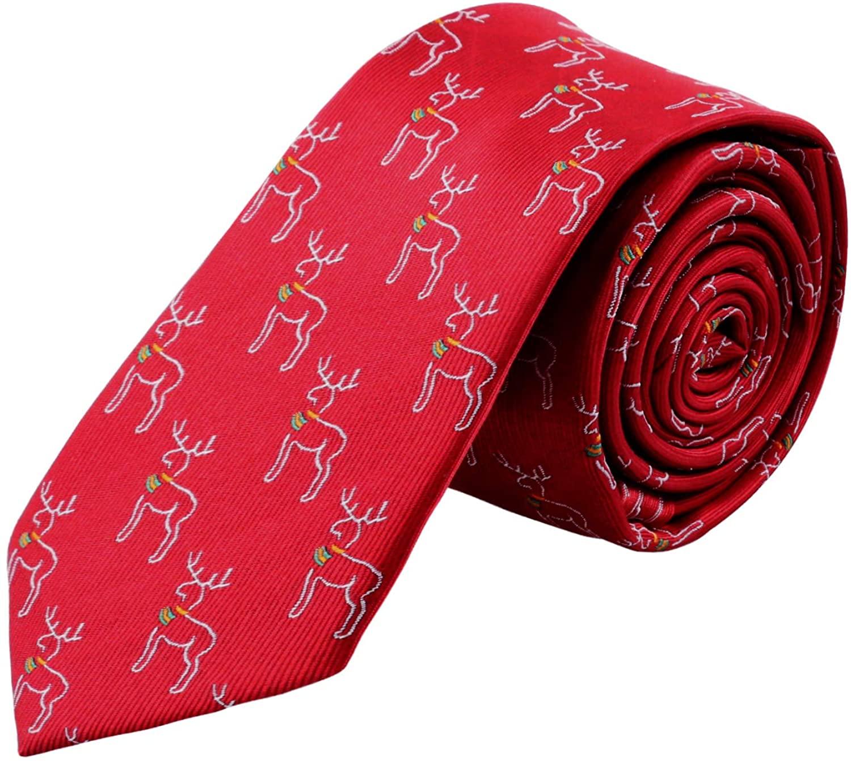 Mens Christmas Necktie Holiday Red Elk Printed Tie Xmax Party Tie(Wine Red/Elk)