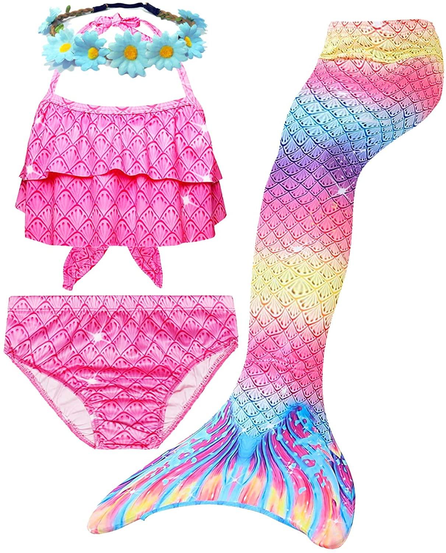 AMENON 3 Pcs Girls Swimsuits Mermaid for Swimming Bathing Suits Mermaid Bikini Costumes Best Birthday Gift for Girls …