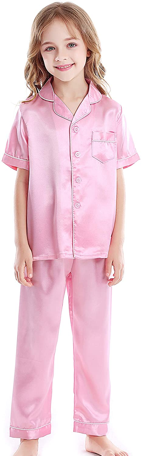 Horcute Kids Satin Short-Top and Long-Pants 2-Pieces Pajamas Sleepwears Set
