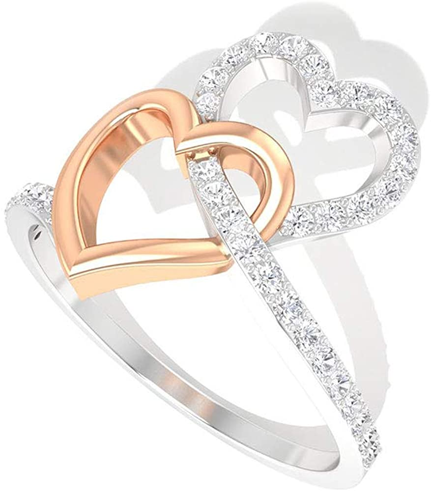 0.27 CT Pave IGI Certified Diamond Open Heart Ring, Solid 14k Mix Metal Double Heart Interlocking Anniversary Rings, Bridal Wedding Love Promise Rings, 14K Rose Gold, Size:US 6.0
