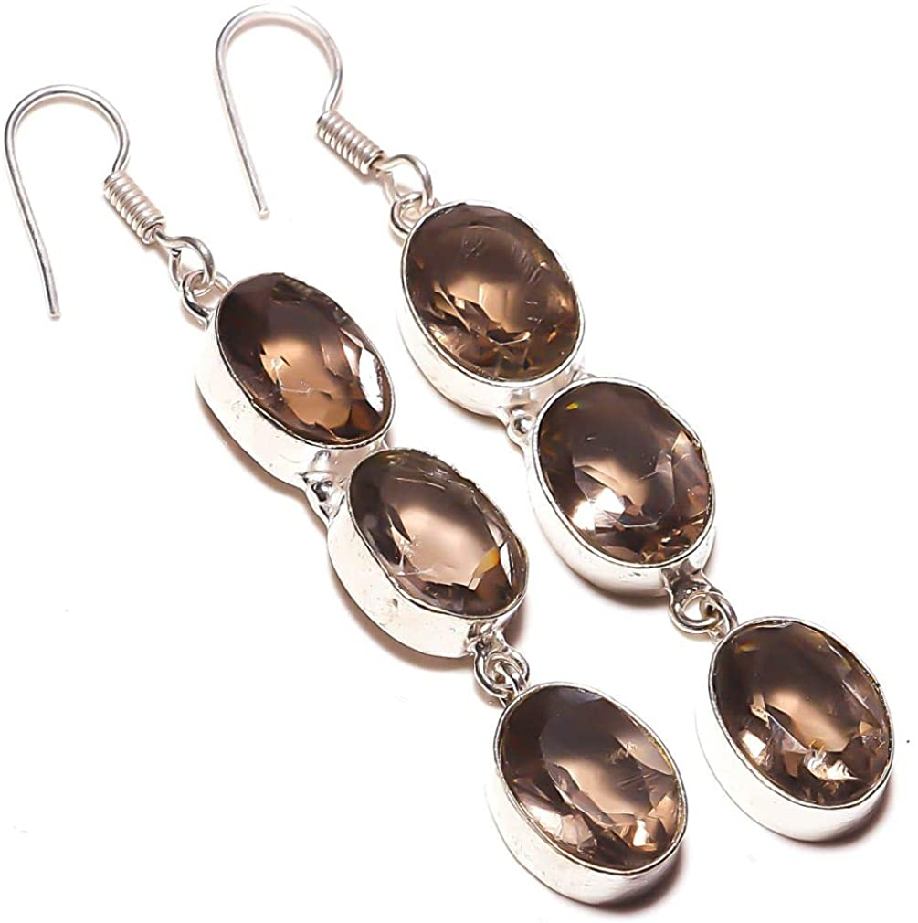 Gift for Girlfriend! Smokey Topaz Quartz HANDAMDE Jewelry Sterliing Silver Plated Earring 2.5 Long