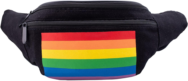 Fanny Waist Pack Rave Bag - Festival Phanny Packs - Black with Horizontal Rainbow Stripes