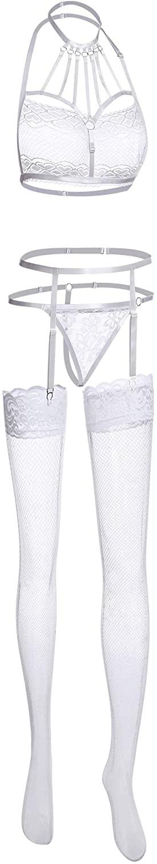 Women Lingerie Garter Belt Set with Stockings Halter Bra Panty Lace Teddy Strappy for Women Nightwear