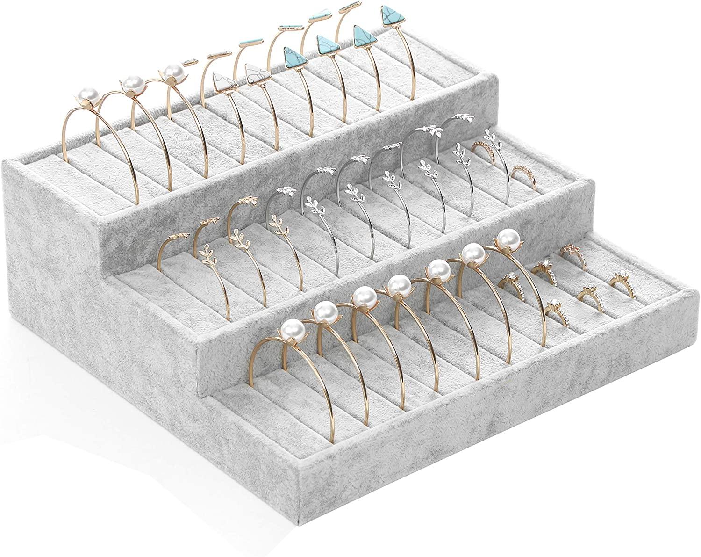 BOCAR Velvet Jewelry Bracelet Ring Display Showcase Organizer Holder