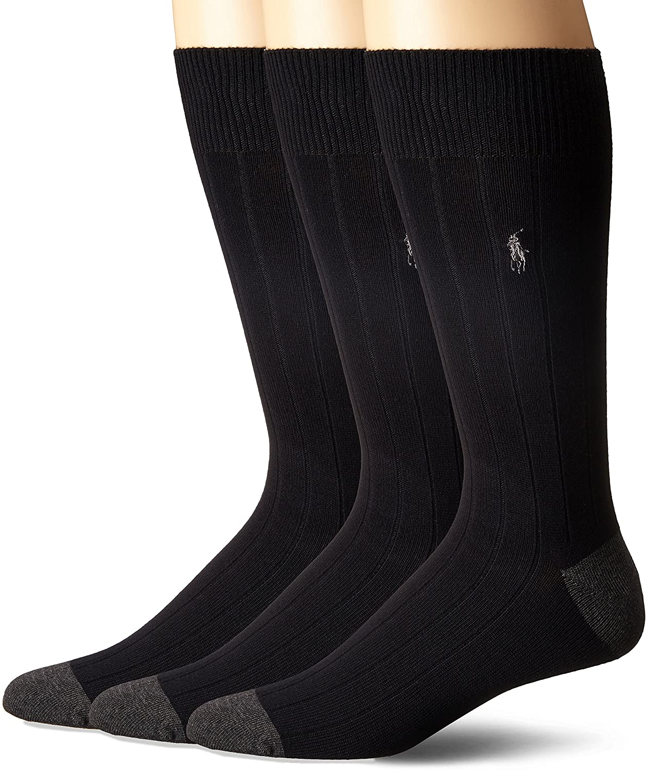 Polo Ralph Lauren 3-Pack Rib Crew with Contrast Heel/Toe and Polo Player Embroidery