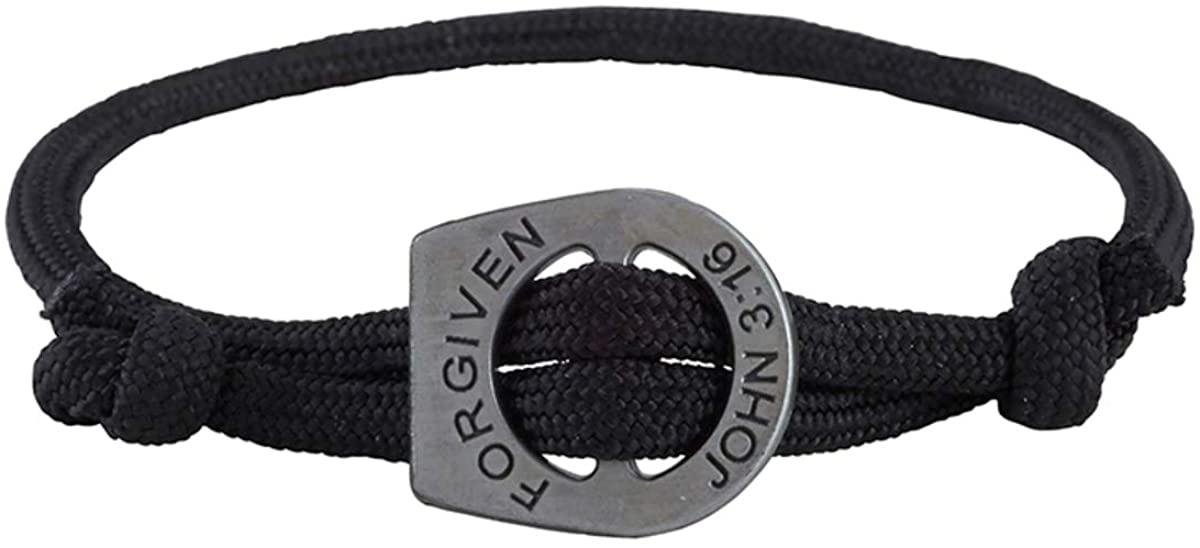 Forgiven John 3:16 Adjustable Cord Bracelet, 7 1/2 Inch, Pack of 3