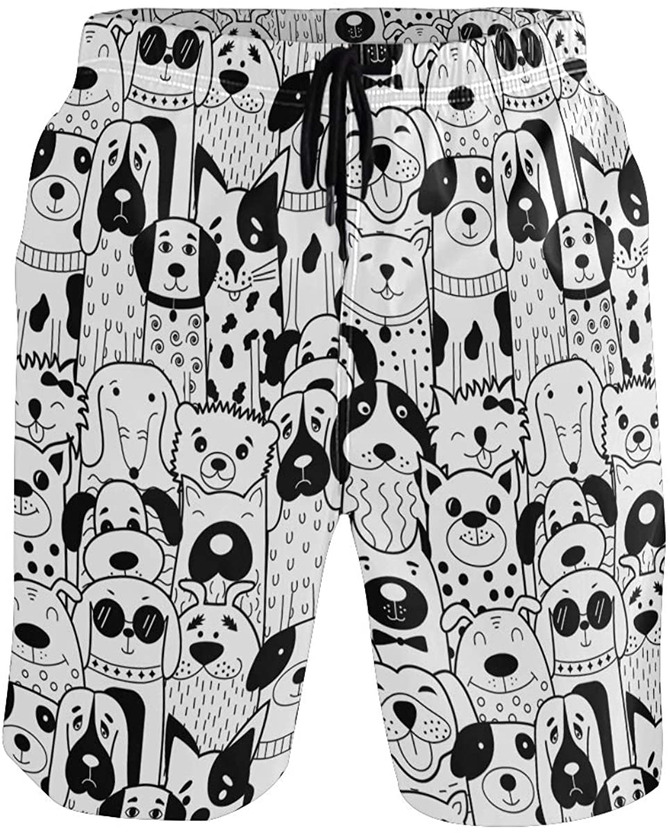 Sinestour Mens Swim Trunks Quick Dry Black White Doodle Dogs Board Shorts with Pocket