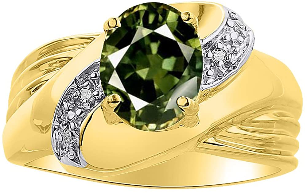 Diamond & Green Sapphire Ring Set In 14K Yellow Gold - Color Stone Birthstone Ring