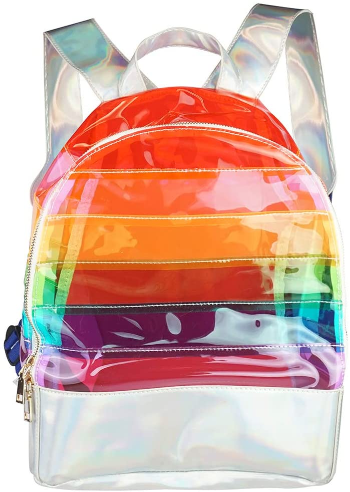FACE1ST Oversize Multicolored Rainbow Soft Faux Fur Waist Fanny Pack Nylon Festival Day Backpack Bag (Rainbow (Backpack))