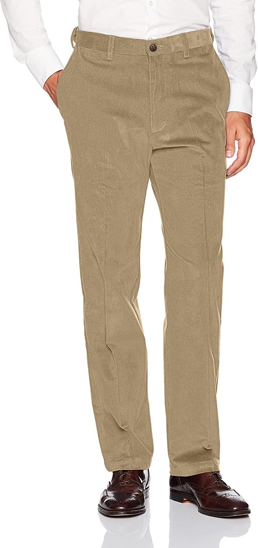 Haggar Men's Stretch Corduroy Expandable Waist Classic Fit Plain Front