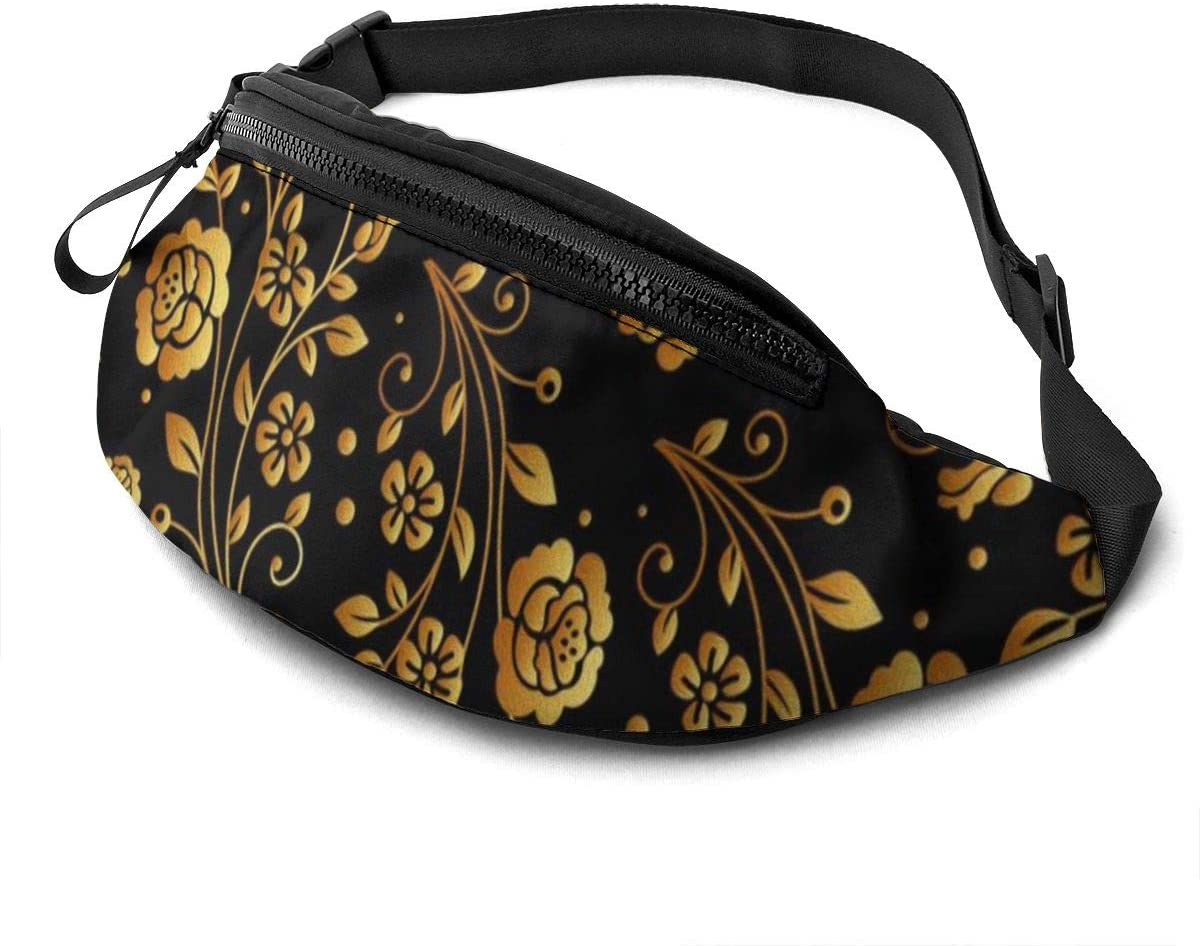 Black Gold Rose Fanny Pack For Men Women Waist Pack Bag With Headphone Jack And Zipper Pockets Adjustable Straps