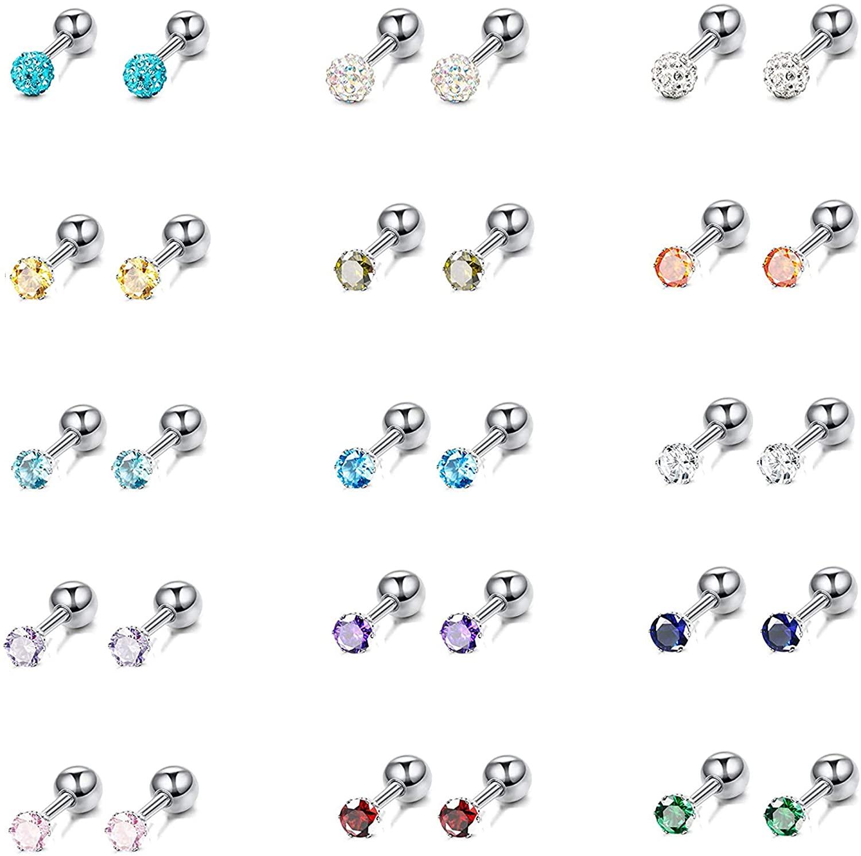 SAILIMUE 15 Pairs Catilage Stud Earrings for Men Women Birthstone Earrings Stainless Steel CZ Ball Earrings Shiny Multicolor Cubic Zirconia Disco Ball Helix Cartilage Tragus Screwback Earrings Set