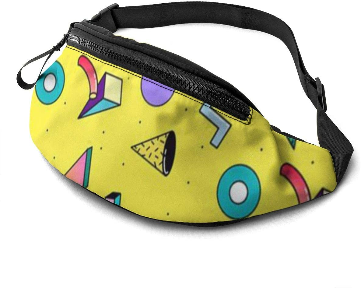 Colorful Geometric Figure Fanny Pack For Men Women Waist Pack Bag With Headphone Jack And Zipper Pockets Adjustable Straps