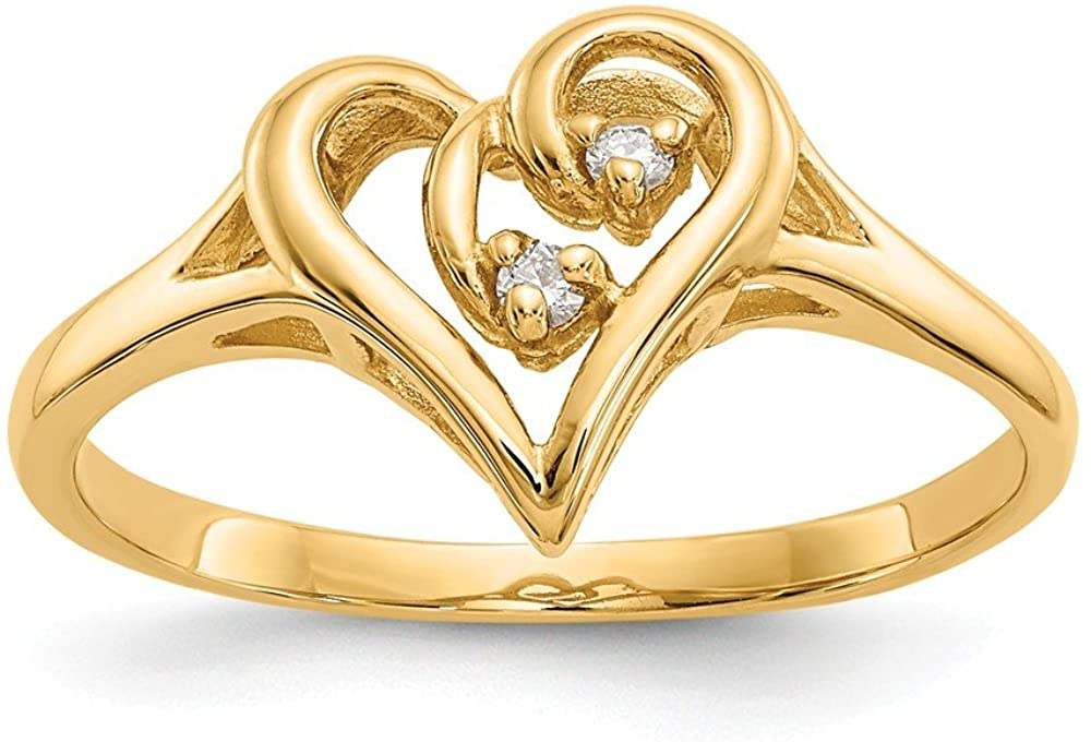 14K Yellow Gold Ring Band Themed 2 mm Polished .03ct. Diamond Heart Mounting, Size 5