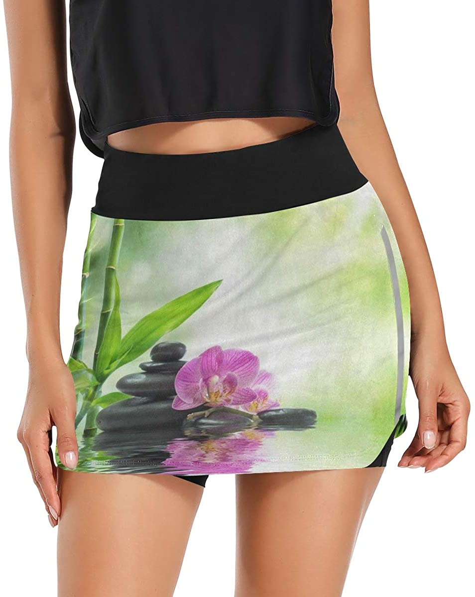 Zen Stone Pink Floral Water Lake Bamboo Women's Tennis Golf Skorts Skirts with Pockets Inner Biker Shorts Casual