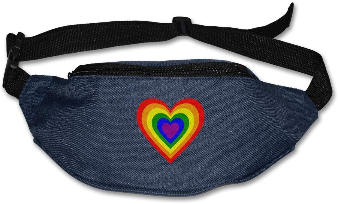 SWEET-YZ Unisex Waist Pack LGBT Rainbow Heart Flat Fanny Bag Pack for Sport Running