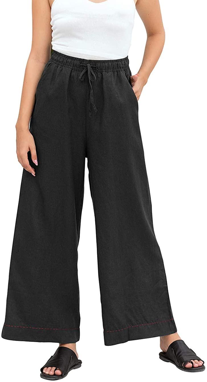 Les umes Womens 100 Linen Wide Leg Loose Long Pants Plus Size Elastic Waist Casual