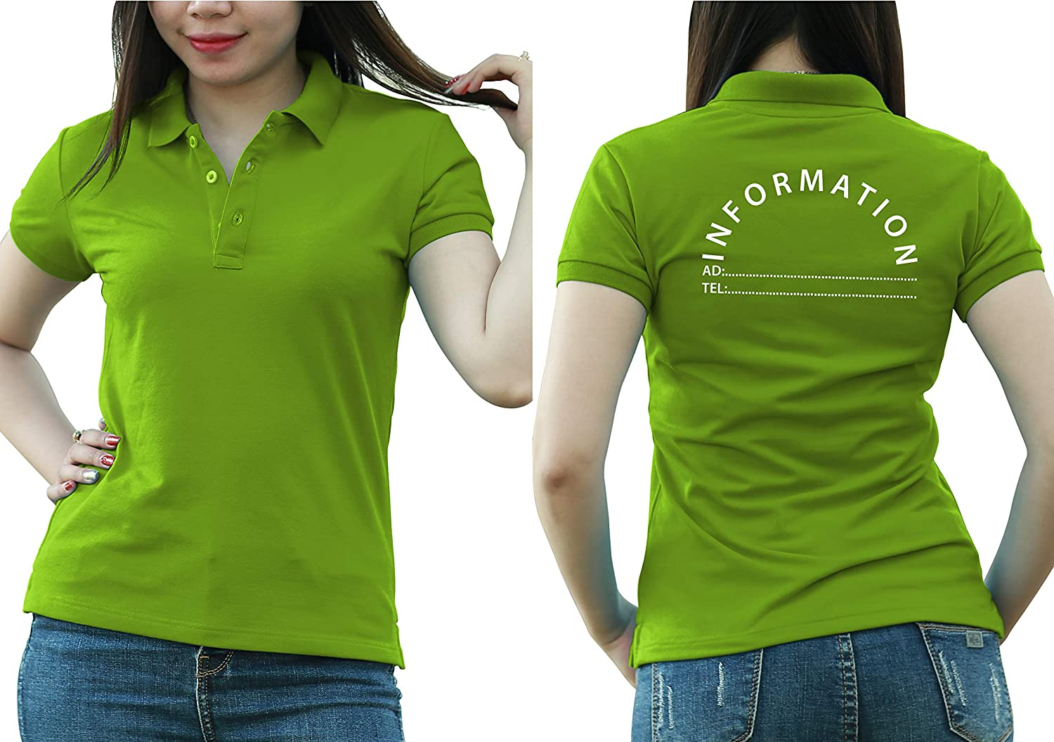 Add Custom Personalize Your Logo Text. Print On Polo & T-Shirt with Multi Sides –Sizes - Colors. Pack of 10 Green