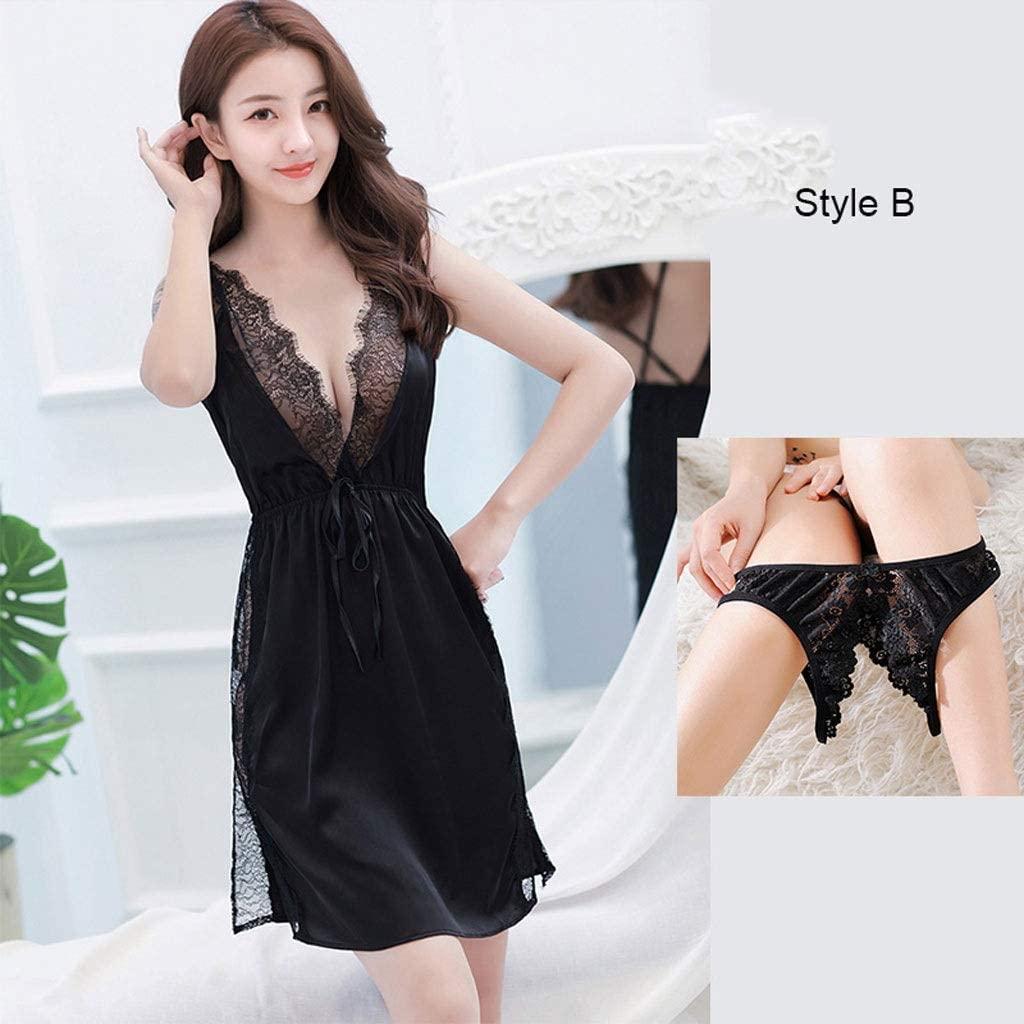 LYS Attractive Underwear,hot Lingerie Set Passion Bed Charm Big Size Teasing hot Open Temptation Pajamas,Black,One sizeB