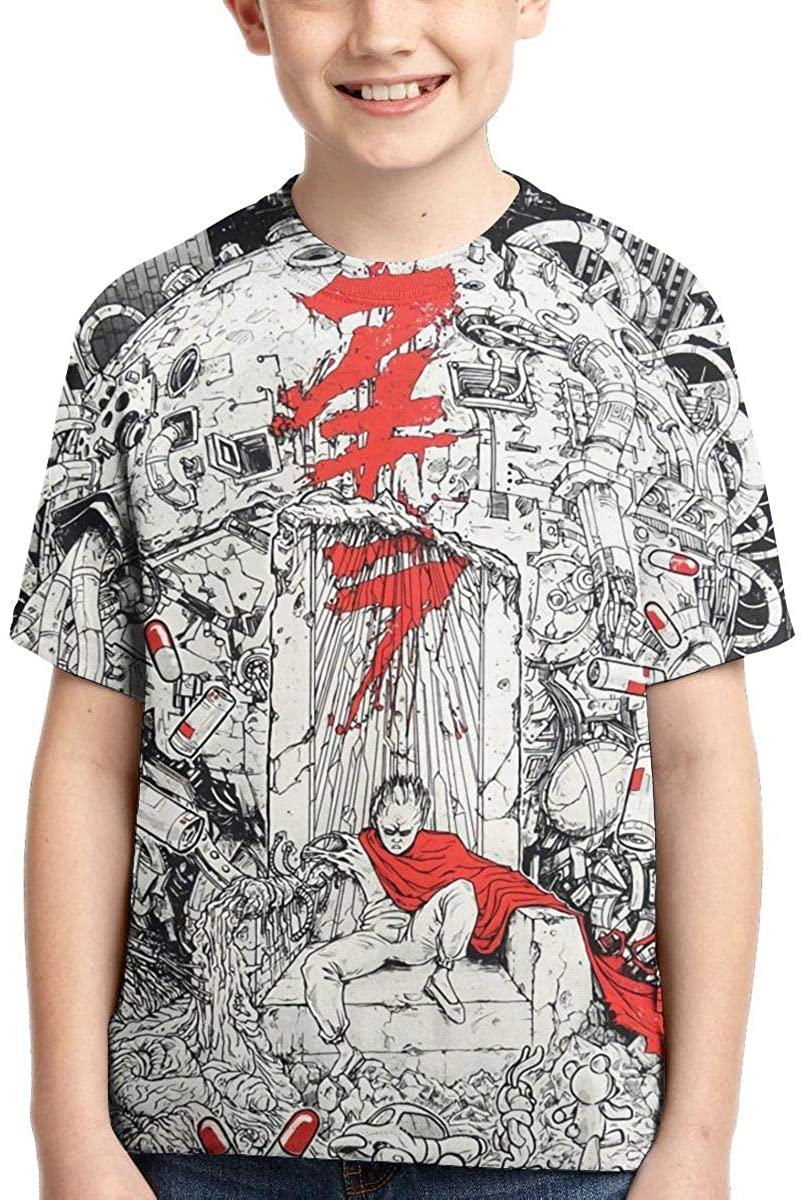 Akira 3D Print Boys' T-Shirts Teen Sport Cool Short Sleeve Top XL