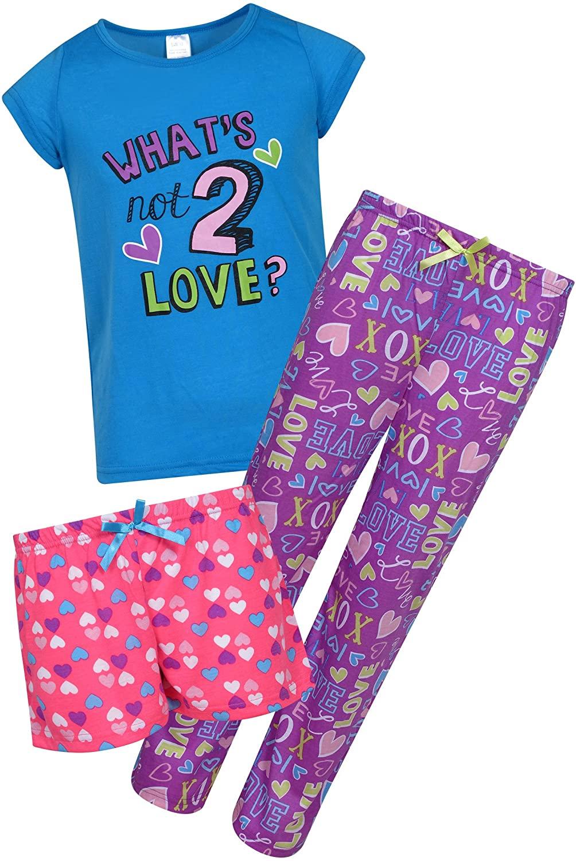 Sleep & Co Girls Sleepwear 3 Piece Pajama Set - Short Sleeve T-Shirt, Shorts, and Pants