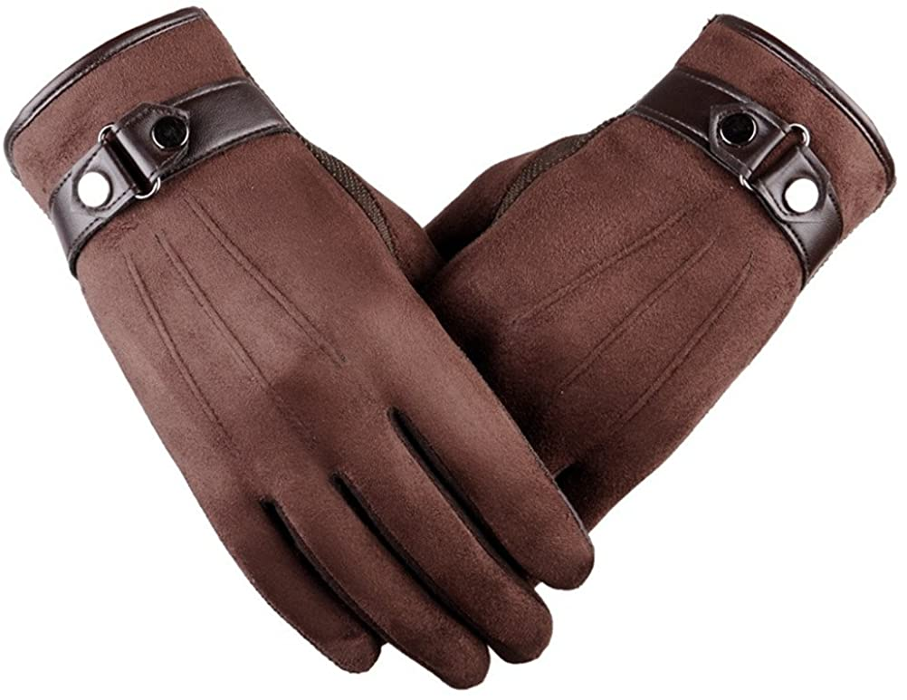 Winter Mittens Men's Gloves Suede Touch Screen Windproof Driving Gloves