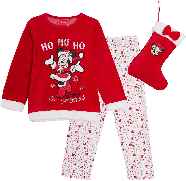 Disney Minnie Mouse Girls Fleece Pajamas Pjs + Christmas Stocking Gift Set Xmas Boxed Present