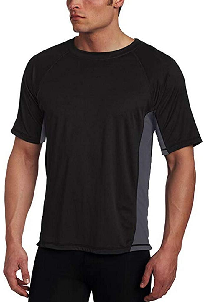 Easytoy Men Shirt, Men's Slim Pure Color Splice Casual Fashion Lapel Short Sleeve Shirt