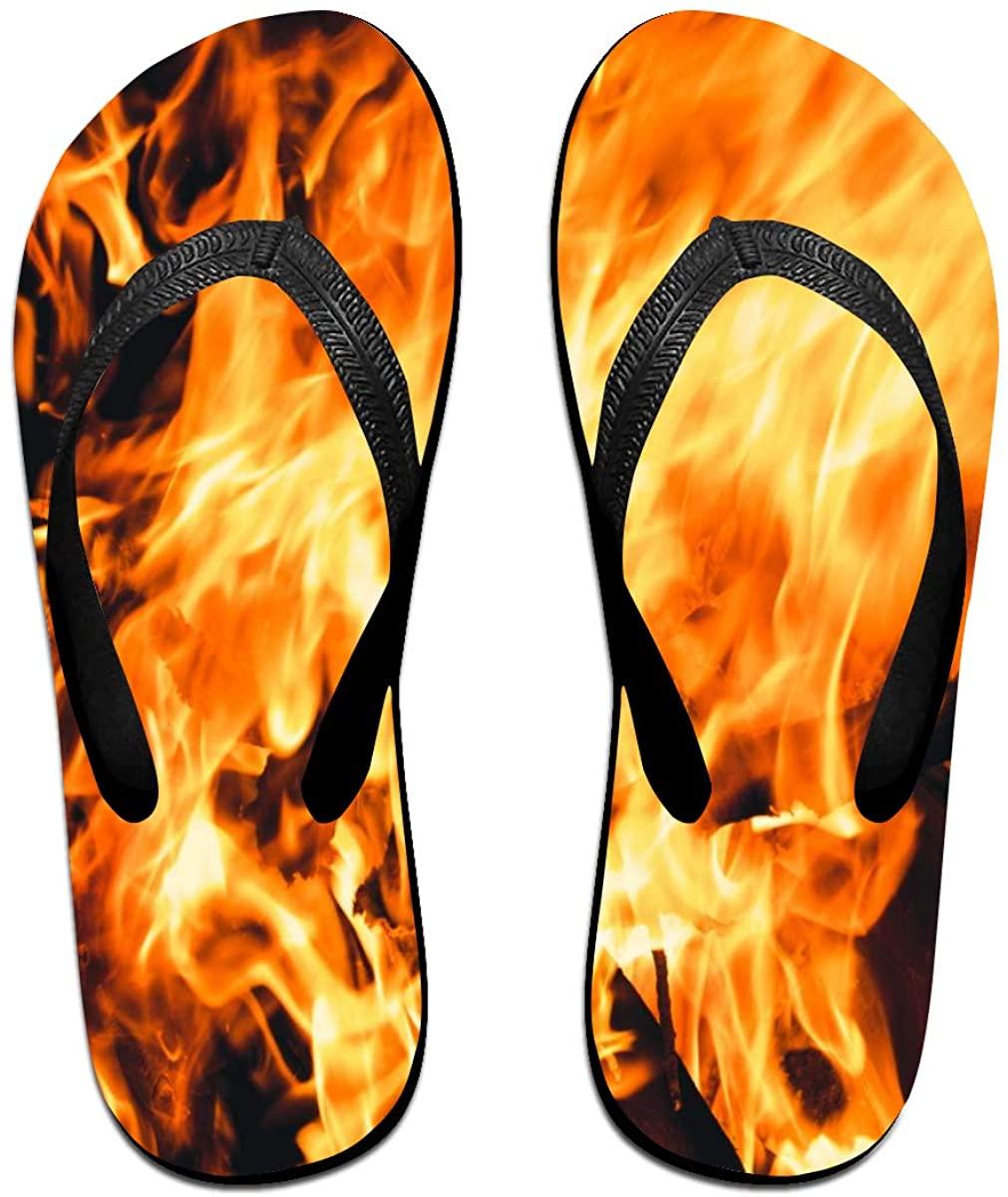 Mens Flip Flop Slippers Bright Flame of A Fire Rubber Cozy Flip Flops Outdoor Beach Sandals
