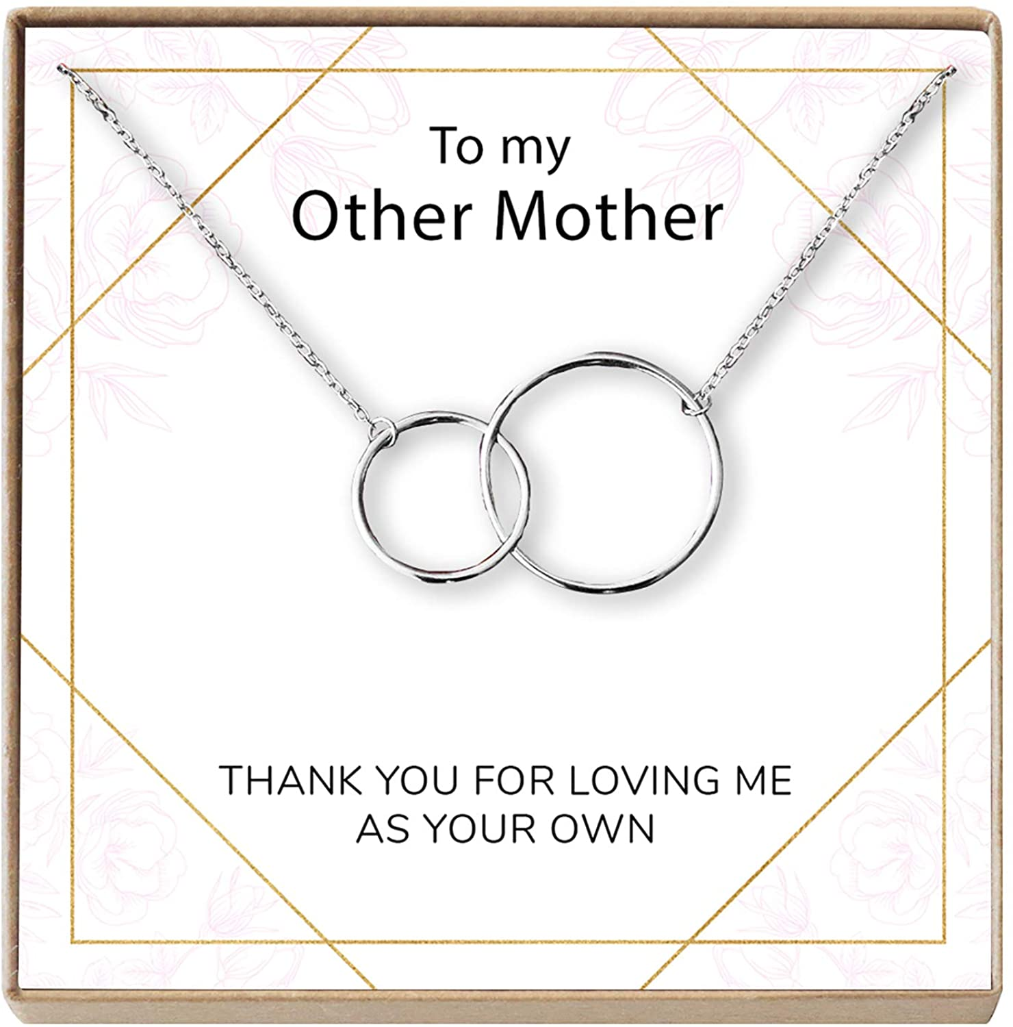 Dear Ava Stepmom Gift Necklace: Adopted Mum, Mother Figure, Foster Mom, Stepmother, 2 Interlocking Circles