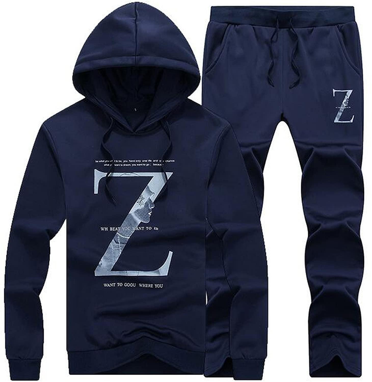 VMANNER Men's Casual Athletic Hoodie Tracksuit Sports Sets Jog Suit