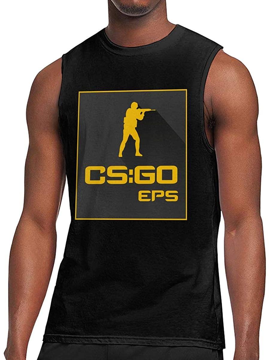 Sdfcvxkhl Counter-Strike Gl-Ob-Al Offe-Nsi-Ve Soft Touch, Slightly Elastic, Easy to Fashion Men's Sleeveless T-Shirt Black