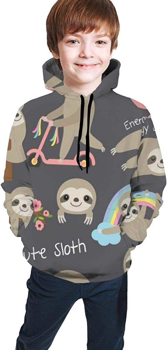 Ghhpws Cute Sloth Unisex Kids Casual Hoodies Lightweight Hooded Pullover Sweatshirt for 7-20T Boys & Girls with Pocket