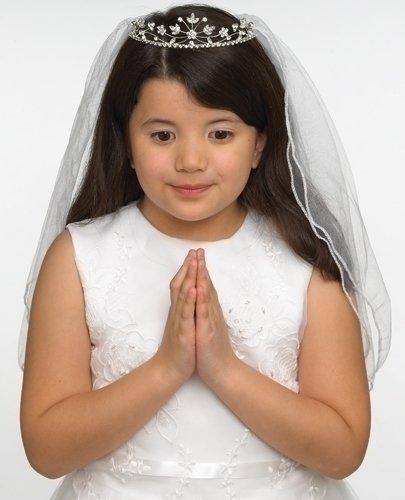 Rhinestone Encrusted Communion Tiara with 22 Inch Double Veil; Style Hannah