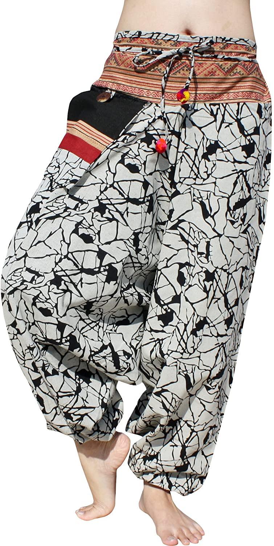 RaanPahMuang Mao Hill Tribe Harem Pants Patch Printed Summer Cotton Hanging Pocket