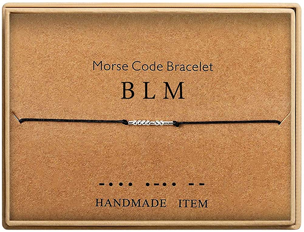 BLM - Black Lives Matter Morse Code Bracelet Beads on Silk Cord Friendship Bracelet Jewelry Gift for Her
